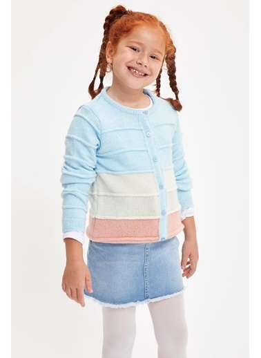 DeFacto Kız Çocuk Renk Bloklu Triko Hırka Mavi